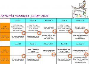 tableau activités juillet 2021